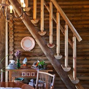 Diseño de escalera recta, rural, sin contrahuella, con escalones de madera
