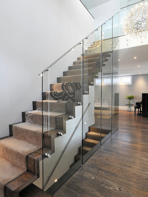 Glass enclosed staircase design ideas renovations photos for Enclosed staircase design