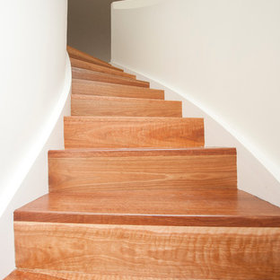 Ispirazione per una scala curva minimalista di medie dimensioni con pedata in legno e alzata in legno