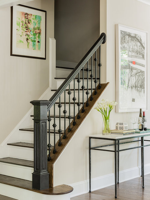 Mid-sized elegant wooden straight wood railing staircase photo in Boston