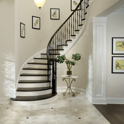 Elegant wooden curved metal railing staircase photo in Tampa with painted risers