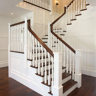 Traditional wood staircase in San Francisco.