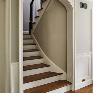 Inspiration for a timeless wooden staircase remodel in Los Angeles with painted risers
