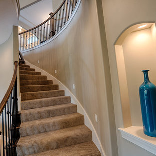 Example of a transitional staircase design in Kansas City