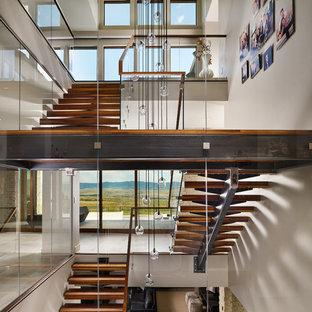 Ispirazione per un'ampia scala sospesa moderna con pedata in legno, nessuna alzata e parapetto in vetro