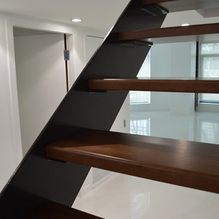 Staircase - large contemporary wooden floating open staircase idea in San Diego