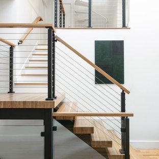 ボストンの大きい木のエクレクティックスタイルのおしゃれな階段 (ワイヤーの手すり) の写真