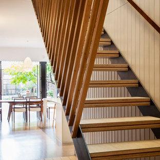 Idéer för funkis raka trappor i trä, med sättsteg i metall