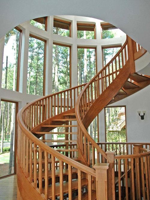 modelo de escalera curva rural extra grande sin con escalones de