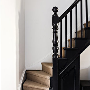 Design ideas for a small victorian l-shaped wood railing staircase in Sydney.