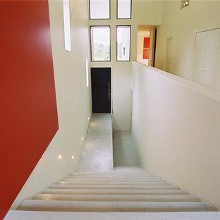 Esempio di una scala a rampa dritta minimal di medie dimensioni con pedata in cemento e alzata in cemento