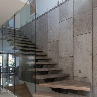 メルボルンの中サイズの木のコンテンポラリースタイルのおしゃれな階段 (ガラスの蹴込み板、木材の手すり) の写真