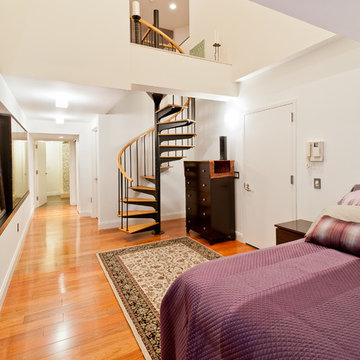 Bedroom with Spiral Staircase