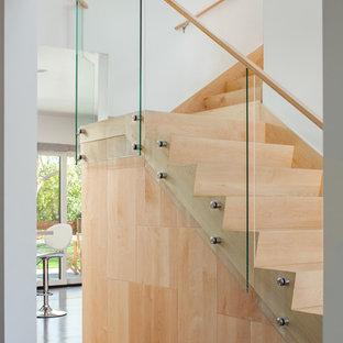 Idee per una scala a rampa dritta moderna di medie dimensioni con pedata in vetro, alzata in legno e parapetto in vetro