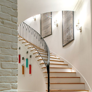 Large transitional wooden curved metal railing staircase photo in Houston with painted risers