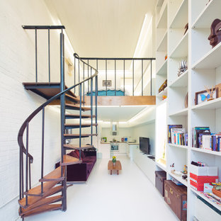 Staircase - contemporary wooden spiral open staircase idea in London
