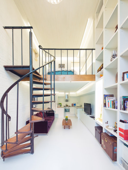 Staircase   Contemporary Wooden Spiral Open Staircase Idea In London
