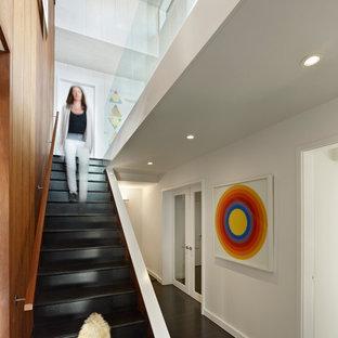 サンフランシスコのミッドセンチュリースタイルのおしゃれな直階段の写真