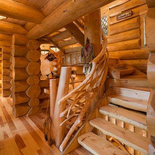 Diseño de escalera rural con escalones de madera