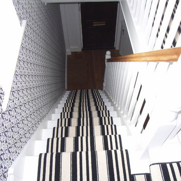 black and white stair carpet runner