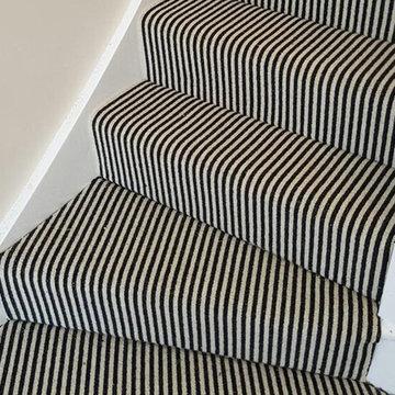 Black & White Striped Carpet to Stairs