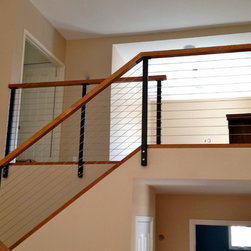 Black Railing Posts with Stainless Cable - Powder coated steel post system with stainless cable and hardwood