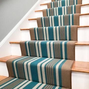 Blue & Brown Wool Striped Stair Runner