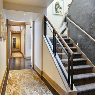 シアトルのカーペット敷きのトランジショナルスタイルのおしゃれな折り返し階段 (カーペット張りの蹴込み板、金属の手すり) の写真