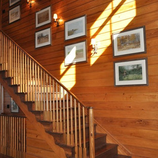 Design ideas for a traditional wood wood railing staircase in Atlanta with wood risers.
