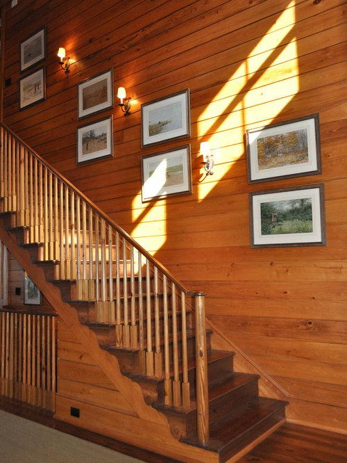 Traditional Wooden Wood Railing Staircase Idea In Atlanta