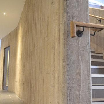 Board marked concrete staircase - Girdwood Community Hub -