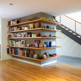 Bookcase, Stairs & Living Beyond