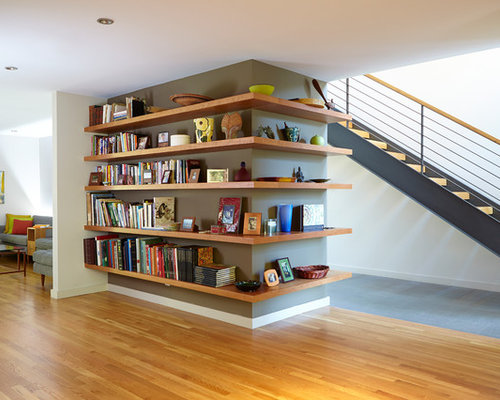 Trendy wooden straight open and cable railing staircase photo in San  Francisco