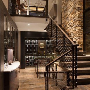 Genial Staircase   Mid Sized Rustic Wooden L Shaped Cable Railing Staircase Idea  In Denver