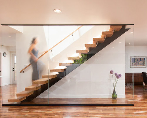 Inspiration For A Large Contemporary Wooden Straight Open And Glass Railing  Staircase Remodel In Los Angeles