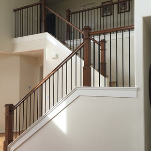 Box Newels with Simple Iron Balusters
