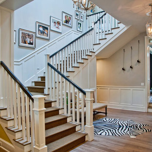 Example of a classic wooden staircase design in Los Angeles