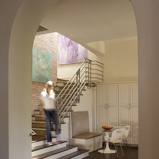 Staircase - contemporary wooden staircase idea in Austin