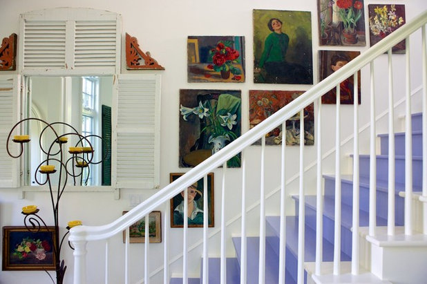 Shabby-chic Style Staircase by Alison Kandler Interior Design