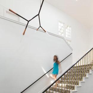 Ispirazione per una grande scala a rampa dritta minimal con pedata in legno verniciato e alzata in legno verniciato