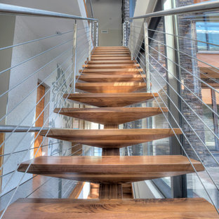 Inspiration For A Large Contemporary Wooden Straight Open And Cable Railing Staircase  Remodel In Vancouver