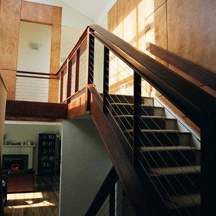 ニューヨークの中サイズのカーペット敷きのモダンスタイルのおしゃれな直階段 (木の蹴込み板、ワイヤーの手すり) の写真