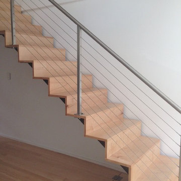 Cable railing and custom interior staircase