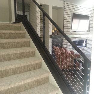 ボイシの大きいカーペット敷きのモダンスタイルのおしゃれな折り返し階段 (カーペット張りの蹴込み板、ワイヤーの手すり) の写真