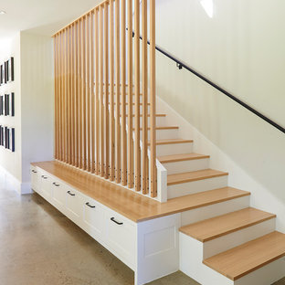 Inspiration for a transitional wooden straight metal railing staircase remodel in Dallas