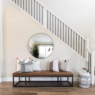 Staircase - coastal straight mixed material railing staircase idea in Sacramento