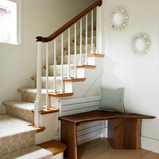 Transitional l-shaped staircase photo in Boston