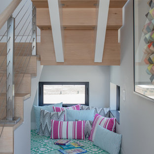 Example of a huge trendy wooden l-shaped wood railing staircase design in Boston with wooden risers
