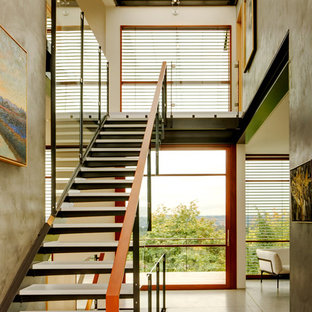Staircase - contemporary glass straight open staircase idea in Seattle