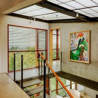 Staircase - contemporary glass open staircase idea in Seattle